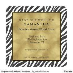 Elegant Black White Zebra Print Baby Shower 5.25x5.25 Square Paper Invitation Card