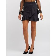 Charlotte Russe Faux Suede Ruffle-Trim Skirt ($5.99) ❤ liked on Polyvore featuring skirts, mini skirts, black, flounce skirt, short ruffle skirt, short skirt and faux suede mini skirt