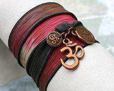 Items similar to Hand Dyed Silk Ribbon Wrap Bracelet Navajo Trail Copper Tree of Life, Om, Ohm, Yoga Jewelry on Etsy Ribbon Wrap, Silk Ribbon, Ribbon Bracelets, Jewelry Box, Jewelry Ideas, I Tattoo, Dyed Silk, Om, Fashion Accessories
