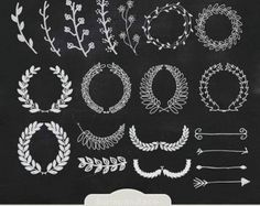 Hand Drawn clipart laurels and arrows, chalkboard clipart laurels and arrows…