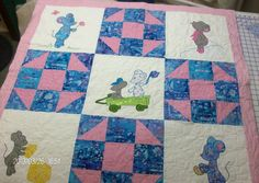 Milo the Mouse Baby Quilt for sale by Homesewn by Carolyn.  Adorable quilt for your baby! $145.00 http://www.homesewnbycarolyn.com
