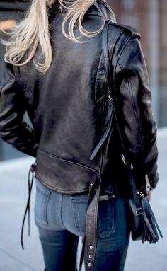 Leather jacket + jeans.