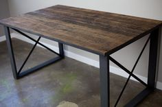 Custom Made Dining Table, Desk, Vintage Reclaimed Wood And Steel, Industrial, Urban, Modern, Rustic, Distressed