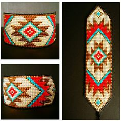 Bright and bold beaded loom bracelet handmade to order. Inspired by Native American designs with a m Bead Loom Patterns, Peyote Patterns, Beading Patterns, Native Beadwork, Native American Beadwork, Loom Bands, Tapete Floral, Bead Loom Bracelets, Tear