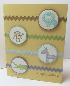"""Zoo Babies Wood-mount Stamp Set Zoo Babies Clear-mount Stamp Set So Saffron 8-1/2X11 Card Stock Baked Brown Sugar 8-1/2"""" X 11"""" Cardstock Pear Pizzazz 8-1/2"""" X 11"""" Cardstock Wisteria Wonder 8-1/2 X 11 Card Stock Pool Party 8-1/2 X 11 Card Stock Tasteful Trim Bigz Die Big Shot Die-Cut Machine 1-1/4 Inch Circle Punch 1-3/8 Inch Circle Punch"""