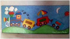 cuadro infantil, acrílico y texturas, sobre placa de 40x17