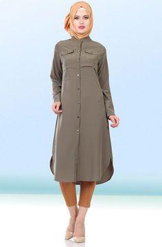 Miss Cazibe Beli Büzgülü Tunik 1733 Haki | Tesettür Giyim