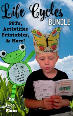 Explore the life cycles of frogs butterflies plants and more with this bundle of PowerPoint slideshows mini-books and other activities. Great for informational writing in kindergarten and first grade! Preschool Science, Science Classroom, Teaching Science, Kindergarten Activities, Science Activities, Teaching Ideas, Science Lessons, Life Science, Informational Writing