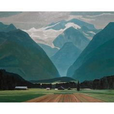 "Lot 179 ALAN CASWELL COLLIER, O.S.A., R.C.A. FARMS IN THE VALLEY (AT MEADOW CREEK B.C.), 1989 oil on canvas signed height 47.2"" x width 59.1"" height 120.0 cm x width 150.0 cm Est. $15000/20000 Realised: $28320 Auction Date: 11/25/2011 Provenance: Roberts Gallery, Toronto. Private Collection, Ontario."