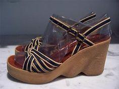 70s Famolare Hi There Platform Wedge Sailor Navy Jute Braided Sandals 8N | eBay