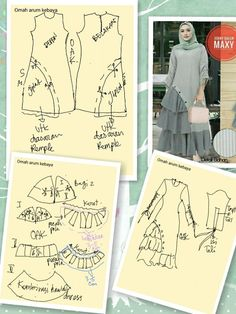 Pola busana Sewing Clothes, Diy Clothes, Clothes For Women, Skirt Patterns Sewing, Clothing Patterns, Moslem Fashion, Fashion Desinger, Smocking Tutorial, Modele Hijab