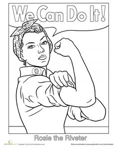 21 Printable Coloring Sheets That Rejoice Woman Energy From Rosie the Riveter to Michelle Obama. 21 Printable Coloring pages of robust ladies. Printable Coloring Sheets, Colouring Sheets, Thinking Day, We Can Do It, Coloring Book Pages, Women In History, Girl Scouts, Girl Power, Woman Power
