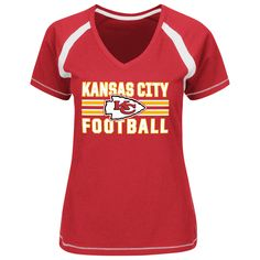 Look great and feel comfortable in this Women's Majestic Plus Game Day T-Shirt. The Kansas City Chiefs Pro Shop is your number one source for official NFL licensed Chiefs gear and apparel.  Features:        Material: 100% Cotton      Rib-knit collar      V-neck      Short sleeve      Screen print graphics      Machine wash      Officially licensed NFL product      Imported