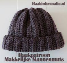 Haakpatroon Makkelijke Mannenmuts, lees meer over dit haakpatroon op haakinformatie Crochet Men, Crochet Motifs, Crochet Winter, Crochet Beanie, Diy Crochet, Crochet Stitches, Knitted Hats, Crochet Hats, Mitten Gloves