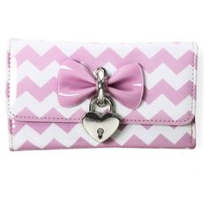 Pink and White Chevron Tri-Fold Wallet with Bow and Heart Charm ($35) ❤ liked on Polyvore featuring bags, wallets, tri fold wallet, snap wallet, snap bag, lock bag and bow bag