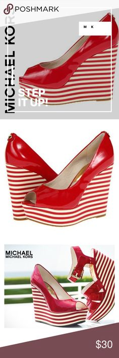 🆕 MICHAEL KORS RED/WHTIE STRIPE PEEK-A-BOO WEDGE 🆕 NEVER WORN Michael Kors 'Adalia' red stripe platform wedge. Red patent leather peep-toe wedges from Michael Kors. Wedge is 4.5 inches and platform is 1.25 inches. Shoe shows scuffs from handling and moving which is reflected in photos and also the price. Bottom of soles indicates never worn. MICHAEL Michael Kors Shoes Wedges