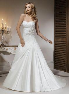 A-line Strapless floor-length taffeta wedding dress