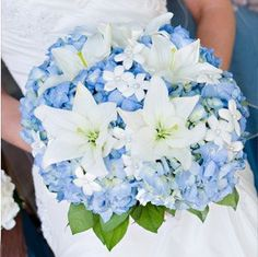 Blue White Bouquet Of Cream Hydrangeas Large Lilies Pearl Accented Stephanotis