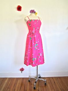 Sz. M, 60s Sundress by MALIA, Pink Floral Cotton, Piping, String Belt, Spaghetti Straps, Skirt
