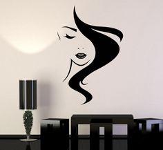 Beauty Hair Vinyl Wall Decal Salon Studio Girl Hairdresser Stickers (825ig)