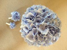Brudebuket bundet af blå hortensia (Line)