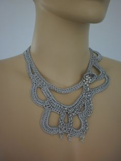 Fall Fashion Grey Crochet Necklace Crochet Jewelry by levintovich, $32.00