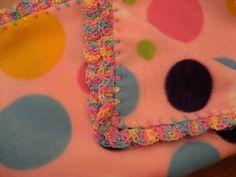 Baby Blanket With Crochet Ruffle - Pastel Polka Dots - Baby Girl. $32.00, via Etsy.