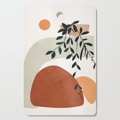 Soft Shapes I Kitchen Cutting Board by City Art - Rectangle