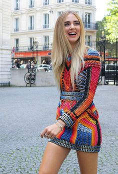 Chiara Ferragni in a Balmain dress spotted on the street at Paris Fashion Week. Photographed by Phil Oh.