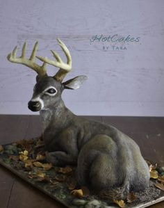 A sculpted deer cake for the Midwest Food Expo Extreme Groom's Cake Challenge. It took PLACE! Very exciting for me as it was my very first competition! Camo Cakes, Deer Cakes, 3d Cakes, Hunting Birthday Cakes, Birthday Cakes For Men, Food Expo, Wedding Cakes With Flowers, Cupcake Cookies, Amazing Cakes