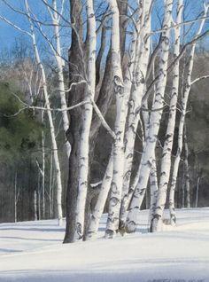 "Watercolor: ""Dancing Birches"" by Robert J. O'Brien"