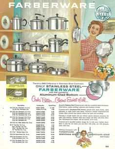 1950s ad for Faberware pots and pans. #vintage #1950s #kitchen #cookware
