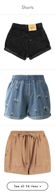 """""""Shorts"""" by sara-koivula ❤ liked on Polyvore featuring shorts, bottoms, dark olive, women's clothing, high-waisted jean shorts, distressed high waisted shorts, high waisted shorts, zipper pocket shorts, denim shorts and short"""
