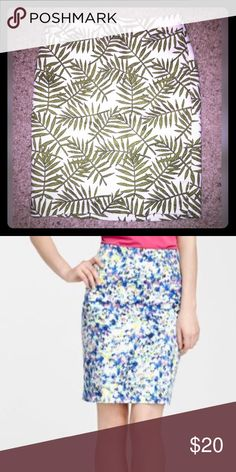 Ann Taylor Printed Pencil Skirt Petite Size 0...NEVER WORN! Second picture is to show fit and length. Shell is 100% cotton. Lining is 100% polyester. Zipper closure in the back. Ann Taylor Skirts Pencil