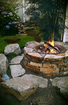 Our backyard. Fire pit love