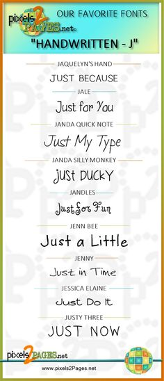 pixels2Pages.net favorite handwritten fonts for page titles and captions on digital scrapbook layouts. Created with Artisan software by Panstoria.