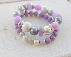 Boho Amethyst Chakra Bracelets-Buddha -Yoga -stack bracelets-Crown Chakra