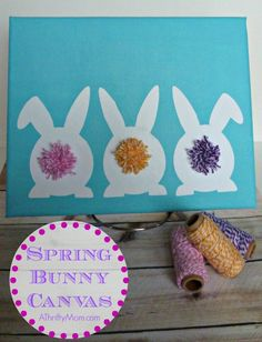 spring bunny canvas, #diy, #art, #canvas, #bunny, #easter, #spring, #bunnies, #paint, #bakerstwine, #pompom, #diycrafts, #thriftycrafts, #th...