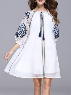 0f4046f6d3a83f ... Suppliers  Noble Casual Mini Dress Women XXXL Summer 2017 Lantern  Sleeve Floral Embroidery Tassel National Ethnic Blue White Dress. biljana  popovic