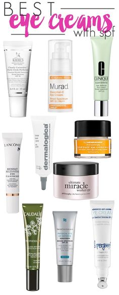 Top 10 Eye Creams with SPF. I can testify for the Kiehl's & Dermalogica. They are both worth it.