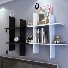 Buy Modern Home Wooden Wall Shelf Rack Display Storage 4 Sets 2 Colors at Wish - Shopping Made Fun Baby Room Shelves, Decor, Wall Shelf Display, Wooden Wall Shelves, Book Racks, Rack Design, Wall Shelves Bedroom, Wooden Walls, Wall Hanging Shelves