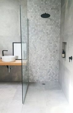 small bathroom storage ideasiscategorically important for your home. Whether you pick the diy bathroom remodel ideas or small bathroom storage ideas, you will make the best wayfair bathroom for your own life. Diy Bathroom, Vintage Bathroom, Concrete Tiles Bathroom, Apartment Bathroom, Bathroom Interior, Small Bathroom, Bathroom Flooring, Bathroom Shower, Tile Bathroom