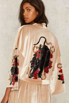 Jaded London Alley Cat Kimono Robe - Worn as lounge wear or outerwear, this velvet kimono robe features a multicolor panther surrounded by roses. Meow!