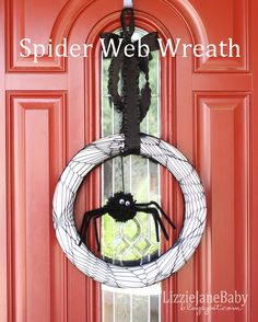 Web Wreath (Styrofoam Wreath wrapped in Tulle with Ribbon and Spider for the Middle!  Cheap Wreath