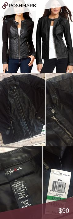 Large Black Faux Leather Moto Jacket Black Faux Leather Moto Jacket - NWT, purchased at Macy's. Size Large, measurements are pictured. I would say it runs slightly large and could fit XL (and totally roomy enough for a sweater underneath). I paid full price last year, never wore it & cannot return it. Super cute jacket!!! Please be respectful if you make an offer. No trades Style & Co Jackets & Coats