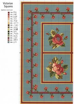 miniature needlework chart (other section of chart here: http://rakelminis.blogspot.com/2011/03/esquemas-para-alfombras-punto-de-cruz.html )