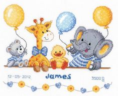 Who better to invite to celebrate the birth of a new-born babe than a smiling set of balloon wielding animals