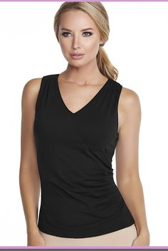9e4cf4c8e15 Alexandra B Underwire Bra Surplice Tank Top camisole with built in  underwire bra. Womens fashion