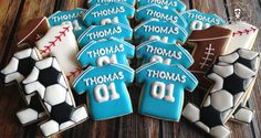 Sports Themed First Birthday Cookies First Birthday Cookies, Baseball Birthday Cakes, Boys First Birthday Party Ideas, Baby Boy First Birthday, Football Birthday, Sports Birthday, First Birthday Photos, First Birthdays, Soccer Cookies