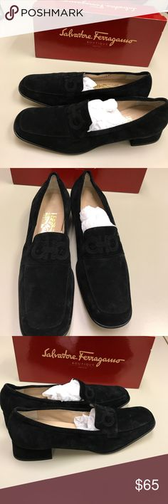 Salvatore Ferragamo loafers Black suede loafers. 2.5' heels. Horse shoe emblem on front tongue. Narrow size fits sz 8M comfy. Minor wear on insoles . Good condition & cute Salvatore Ferragamo Shoes Flats & Loafers